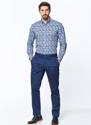 Daffari Desenli Uzun Kollu Gömlek Mavi